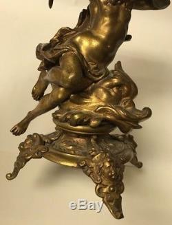 Antique Poseidon / Neptune Dolphin Gilt Metal Figural Banquet Parlor Oil Lamp