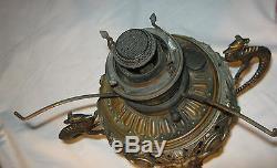 Antique Primitive American Bradley Hubbard Gothic Snake Medieval Oil Iron Lamp