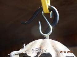Antique RARE Bradley Hubbard B&H Black Wrought Iron RUSTIC Hanging Lamp Oil/K