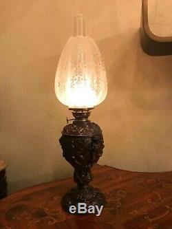 Antique RARE German Kerosene Oil Lamp Kosmos Brenner Patinated Metal