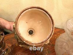 Antique Rare German Majolica Oil Kerosene Lamp