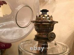 Antique Rare Majolica Kerosene Oil Lamp w. Matador Brenner German Antique Glass