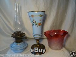 Antique Rare Museum Original Hinks Glass No 2 Duplex Oil Lamp & Cranberry Shade