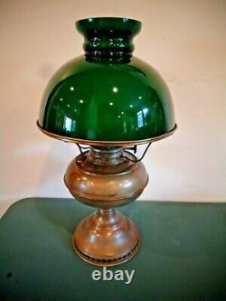 Antique Rayo Brass Oil Lamp Green Glass Shade