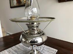 Antique Rayo Nickel Plated Oil Lamp, Great Working Condition, 10 Shade Ring
