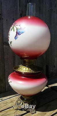 Antique Red GWTW Electrified Oil Lamp withHand Painted Lily Flowers on Base, Globe