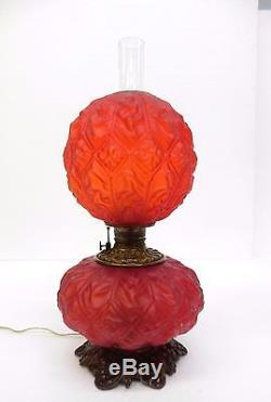 Antique Red Glass Gone With The Wind Converted Oil Lamp