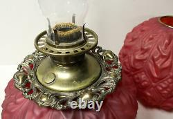 Antique Red Satin Glass Gone with the Wind Oil Lamp