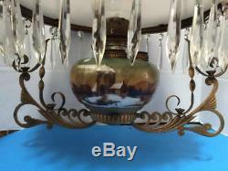 Antique Retractable 1880's Victorian Climax Hanging Oil Library Parlor Lamp