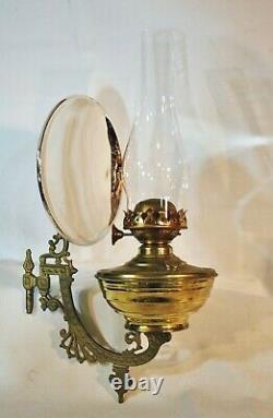 Antique Richmond Giant Brass Oil Kerosene Wall Lamp wMercury Reflector & Bracket