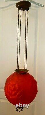 Antique Royal Iris Red Satin Globe Hanging Oil Lamp