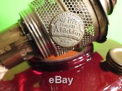 Antique Ruby Red Aladdin Nu-Type Model B Beehive Oil Lamp AWESOME Color