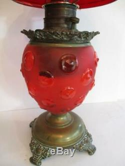 Antique Ruby Red GWTW 24 Table Oil Lamp