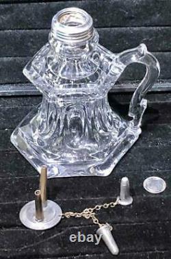 Antique Sandwich Glass Elongated Loop Whale Oil Hand Lamp, #2, c. 1840