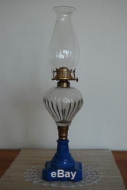 Antique Sandwich Old Atterbury Overlay Cut Glass Oil Kerosene Parlor Piano Lamp
