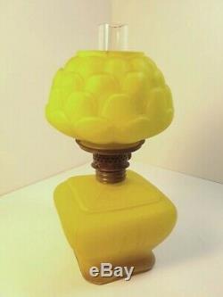 Antique Satin Cased Glass 1890 Consolidated Fostoria Yel ROSE Miniature Oil Lamp