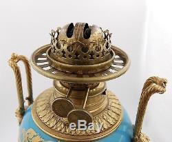 Antique Sevres France Hand Painted Porcelain Bronze Oil Lamp Urn Vase
