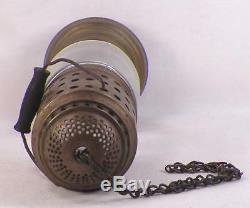 Antique Skater's Lantern Oil Lamp Light Skating Brass Glass Kerosene #2 Large