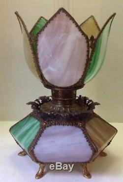 Antique Slag Glass & Brass Tulip Parlor Oil Lamp GWTW Banquet P&A Royal