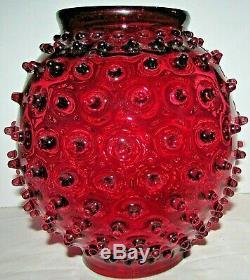 Antique Spiky Hobnail Cranberry Glass GWTW Oil or Kerosene Lamp Shade 8 3/4