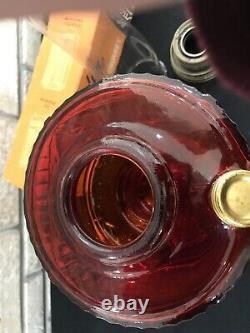 Antique Tall Aladdin Lincoln Drape Oil Kerosene Lamp Ruby Red Amberina Original
