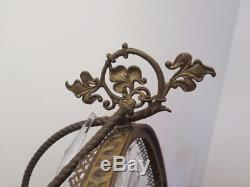 Antique Tehran Bahrami Persian Hanging Brass Oil Lamp Chandelier