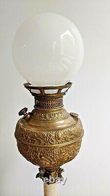 Antique The New Rochester Embossed Brass Electrified Oil Kerosene Lamp