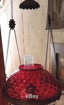 Antique Thumbprint Cranberry Shade Hanging Oil Lamp Brass Circa 1890's