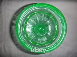 Antique Uranium Glass Fluid Lamp Sandwich Vaseline Depression EAPG Oil Kerosene