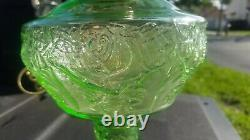 Antique Uranium Glass Oil Lamp converted Electricity