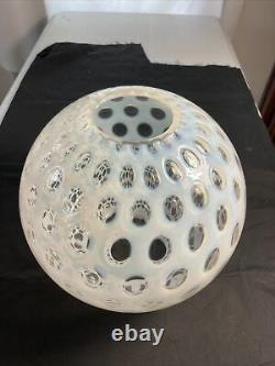 Antique VICTORIAN Gone with the Wind OPALESCENT COIN DOT Coinspot OIL LAMP SHADE