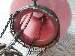 Antique VICTORIAN HANGING OIL LAMP ADJUSTABLE Pink Swirl ELECTRIFIED pull down