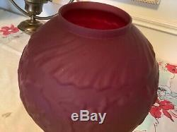 Antique VINTAGE RUBY RED PUFFY SHADE round Globe GWTW LAMP ROSES