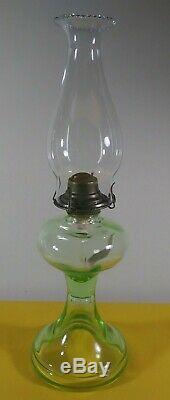 Antique Vaseline Depression Green Glass Kerosene Oil Lamp withGlobe 18 Tall