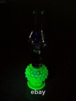 Antique Vaseline Opalescent Uranium Glass Hobnail Oil Lamp. (GREAT CONDITION!)