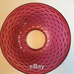 Antique Victorian 1890's 14 Cranberry Hobnail Hanging Parlor Oil Lamp Shade