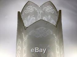 Antique Victorian Acid Etched Glass Oil Lamp Shade Castellated For 10cm Gallery
