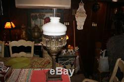 Antique Victorian Art Deco Converted Oil Lamp WithHanging Crystals-Metal Scroll