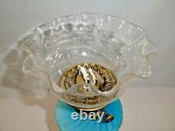 Antique Victorian Banquet OIL LAMP with LONDON EVERED & CO DUPLEX BURNER. 1865