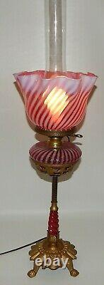 Antique Victorian Banquet Oil Lamp Cranberry Opalescent Swirl Font Ruffled Shade