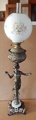 Antique Victorian Banquet Parlor Oil Lamp Figural Metal Base Ball Shade Flowers