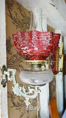 Antique Victorian Bracket Lamp withCenter Post Font & Cranberry Hobnail Shade
