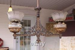 Antique Victorian Bradley & Hubbard Cast Iron Double Hanging Oil Lamp Bracket