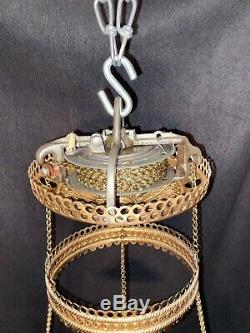 Antique Victorian Bradley & Hubbard Hanging Gone With The Wind Oil Lamp