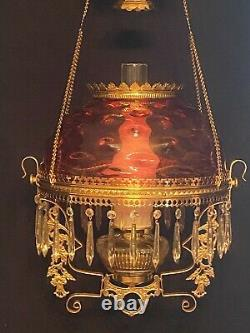 Antique Victorian Bradley & Hubbard Hanging Oil Kerosene Library Parlor Lamp