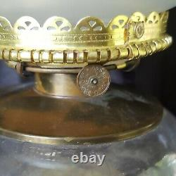 Antique Victorian Brass Banquet Parlor Oil Lamp withACID ETCHED SHADE P&A BANNER