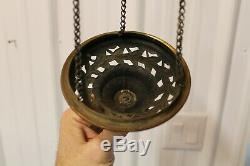 Antique Victorian Brass & Cut Glass MulticoloredJeweled Hanging Oil / Fairy Lamp