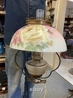 Antique Victorian Brass Hanging Oil Lamp With Pink Floral Shade Electrified