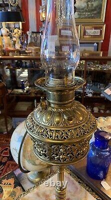Antique Victorian Brass Onyx Bradley & Hubbard Piano Floor Oil Lamp