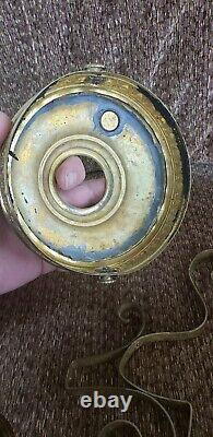 Antique Victorian CRANBERY HANGING OIL LAMP frame withHOBNAIL FONT PARTS
